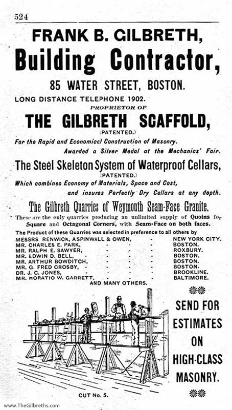 Gilbreth contracting ad 1896