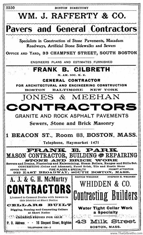 Gilbreth contracting ad 1904